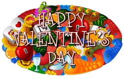 Cartoon hand drawn doodles happy valentines day with colorful elements background Stock Image