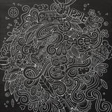 Cartoon hand-drawn doodles hippie illustration Royalty Free Stock Images