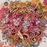 Cartoon hand-drawn doodles hippie illustration Royalty Free Stock Photography