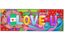 Cartoon hand drawn doodles i love you with colorful elements background Royalty Free Stock Photography