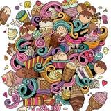 Cartoon hand-drawn doodles Ice Cream illustration Stock Image