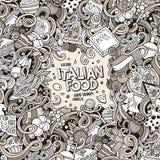 Cartoon hand-drawn doodles Italian food illustration Stock Photos