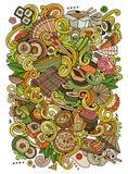 Cartoon hand-drawn doodles Japan food illustration. Stock Photos