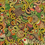 Cartoon hand-drawn doodles of japanese cuisine seamless pattern. Cartoon hand-drawn doodles japanese cuisine seamless pattern. Colorful detailed, with lots of Royalty Free Stock Photo