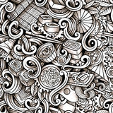 Cartoon hand-drawn doodles of japanese cuisine seamless pattern Stock Photography
