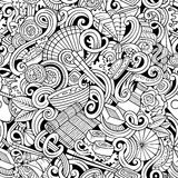 Cartoon hand-drawn doodles of japanese cuisine seamless pattern Royalty Free Stock Photography