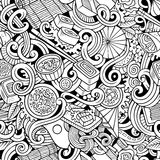 Cartoon hand-drawn doodles of japanese cuisine seamless pattern Royalty Free Stock Image