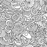 Cartoon hand-drawn doodles of japanese cuisine seamless pattern Stock Photos
