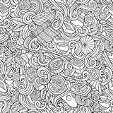 Cartoon hand-drawn doodles of japanese cuisine seamless pattern Royalty Free Stock Photo