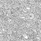 Cartoon hand-drawn doodles of japanese cuisine seamless pattern. Cartoon hand-drawn doodles on the subject of japanese cuisine theme seamless pattern. Line art Royalty Free Stock Photo