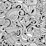 Cartoon hand-drawn doodles of japanese cuisine seamless pattern. Cartoon hand-drawn doodles on the subject of japanese cuisine theme seamless pattern. Line art Stock Photography
