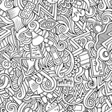 Cartoon hand-drawn doodles of medical seamless pattern Royalty Free Stock Photography