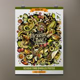 Cartoon hand drawn doodles Mexican food poster design. Template. Very detailed, with lots of objects illustration. Funny vector artwork vector illustration