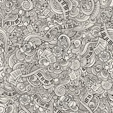 Cartoon hand-drawn doodles music seamless pattern Royalty Free Stock Photography