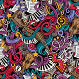 Cartoon hand-drawn doodles music seamless pattern Stock Photography