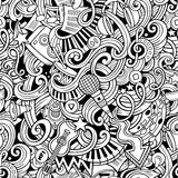 Cartoon hand-drawn doodles music seamless pattern Royalty Free Stock Image