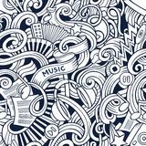 Cartoon hand-drawn doodles music seamless pattern Stock Images