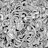 Cartoon hand-drawn doodles music seamless pattern Stock Image