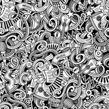 Cartoon hand-drawn doodles music seamless pattern Royalty Free Stock Photo