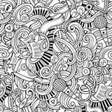 Cartoon hand-drawn doodles music seamless pattern Royalty Free Stock Image