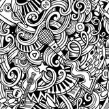 Cartoon hand-drawn doodles music seamless pattern Royalty Free Stock Photos