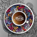 Cartoon hand-drawn doodles Musical cup of coffee Stock Image