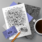 Cartoon hand-drawn doodles Musical identity Stock Images