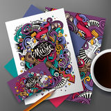Cartoon hand-drawn doodles Musical identity stock illustration