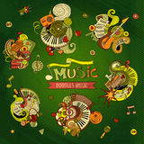 Cartoon hand drawn doodles Musical illustration.  Royalty Free Stock Photography