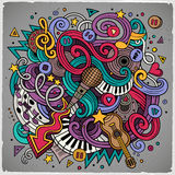 Cartoon hand-drawn doodles Musical illustration Royalty Free Stock Photography