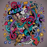 Cartoon hand-drawn doodles Musical illustration Royalty Free Stock Photos
