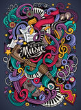 Cartoon hand-drawn doodles Musical illustration Royalty Free Stock Images