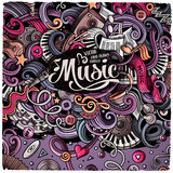Cartoon hand-drawn doodles Musical illustration Stock Photos