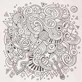 Cartoon hand-drawn doodles Musical illustration Royalty Free Stock Photo