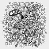 Cartoon hand-drawn doodles Musical illustration Stock Images