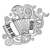 Cartoon hand-drawn doodles Musical illustration. sketch Royalty Free Stock Photo