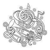 Cartoon hand-drawn doodles Musical illustration. sketch Royalty Free Stock Images