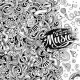 Cartoon hand-drawn doodles Musical illustration Royalty Free Stock Photo