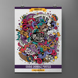 Cartoon hand-drawn doodles Musical poster Royalty Free Stock Photography