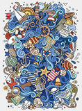 Cartoon hand-drawn doodles nautical, marine illustration Royalty Free Stock Photos
