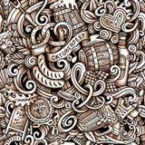 Cartoon hand-drawn doodles Octoberfest seamless pattern Stock Images