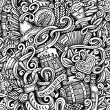 Cartoon hand-drawn doodles Octoberfest seamless pattern Royalty Free Stock Photos
