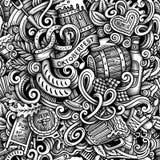 Cartoon hand-drawn doodles Octoberfest seamless pattern Stock Photography