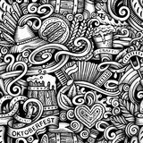 Cartoon hand-drawn doodles Octoberfest seamless pattern. Line art trace detailed, with lots of objects vector background Stock Photography