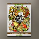 Cartoon hand drawn doodles Pizza poster template Stock Illustration