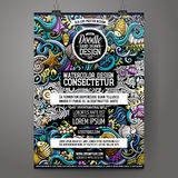 Cartoon hand drawn doodles Sea life poster design. Template. Very detailed, with lots of separate vector illustration