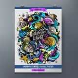 Cartoon hand drawn doodles Sea life poster design. Template. Very detailed, with lots of separate stock illustration