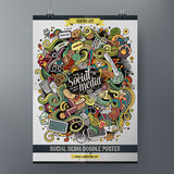 Cartoon hand drawn doodles Social poster template Royalty Free Stock Images