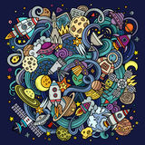 Cartoon hand-drawn doodles Space illustration Royalty Free Stock Image