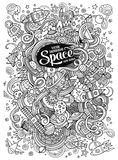Cartoon hand-drawn doodles Space illustration. Line art detailed Stock Photography